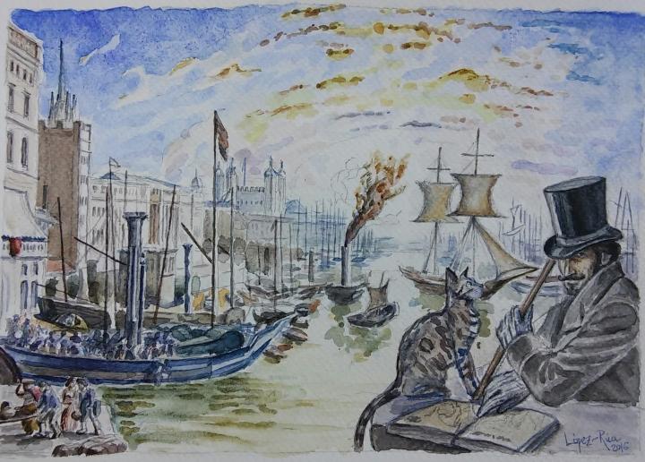 El Marqués de Bradomín en el Puerto de Londres antes de embarcar hacia Méjico