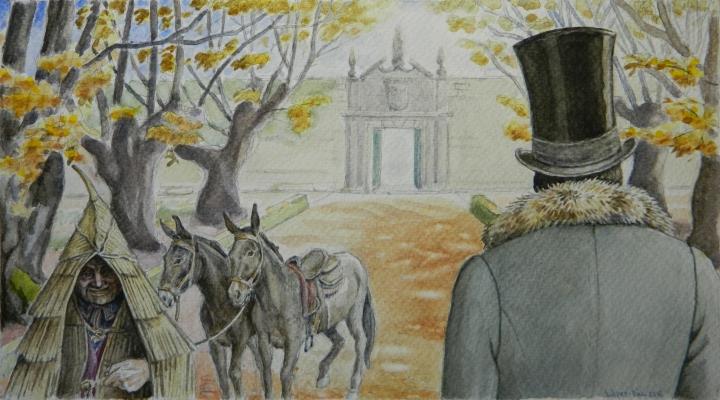 Víctor López-Rúa. Llegada del Marqués de Bradomín al Pazo de Brandeso.
