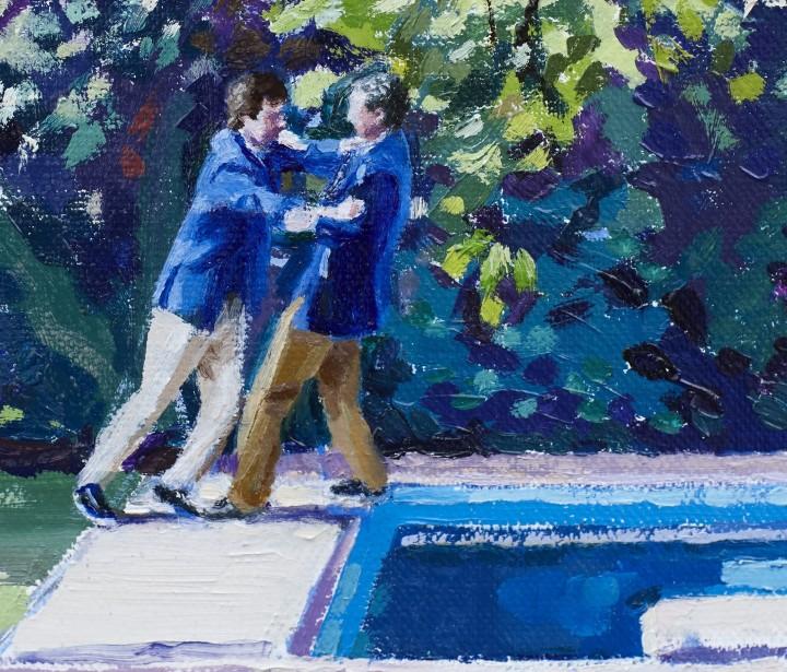Víctor López-Rúa. Piscina. Detalle. Óleo sobre lienzo 54x36cm. 2014. Colección privada (La Coruña)